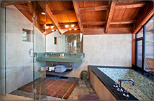 Large soaking tub and shower of the South Coast House